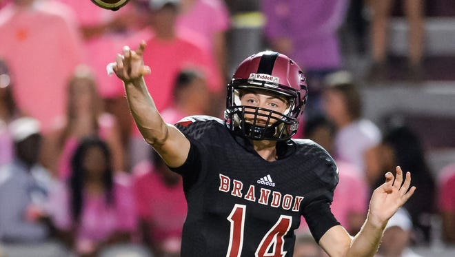 Brandon quarterback Brady Anderson throws downfield against Oak Grove Friday night in Brandon. (Bob Smith-Special to the Clarion Ledger)