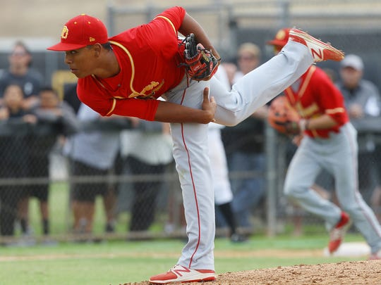 Palm Desert High School's Jeremiah Estrada closes out