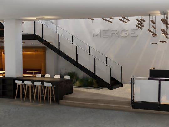 A rendering of the staircase at MERGE. The space will undergo renovations beginning in September and is expected to reopen in January.