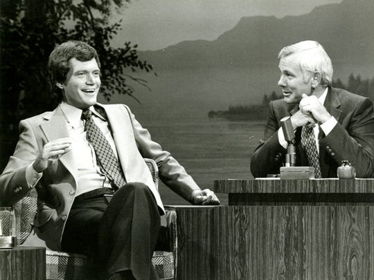 Dave Letterman with friend and mentor Johnny Carson