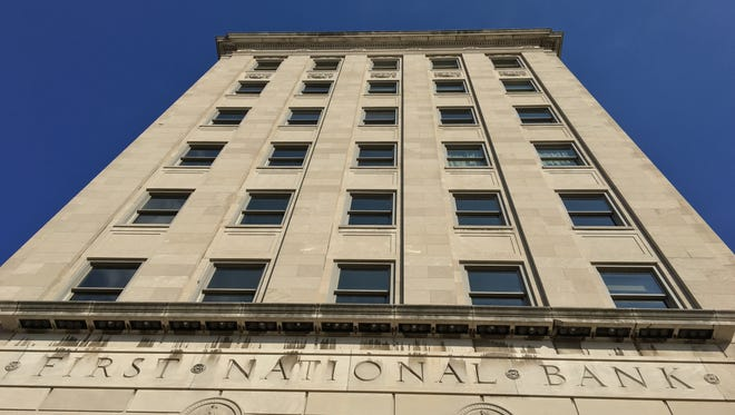 The historic First National Bank building, 404 N. Main St.