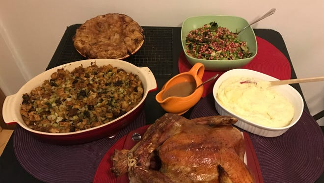 This Oct. 14, 2016, photo shows food from a Thanksgiving dinner from Martha & Marley Spoon in New York. For $120, or $180 which includes an 11-15 pound free-range turkey, Martha & Marley Spoon will ship just about everything you need to cook a decadent Thanksgiving dinner for eight to 10 people.