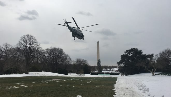 Marine One with President Donald Trump on board departs the White House on Wednesday.