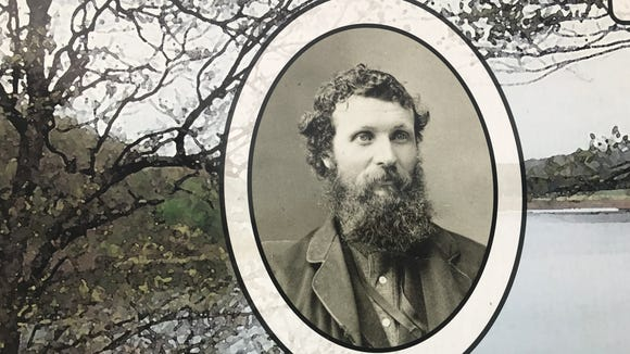 This photo of John Muir is displayed on a kiosk at John Muir Memorial Park.