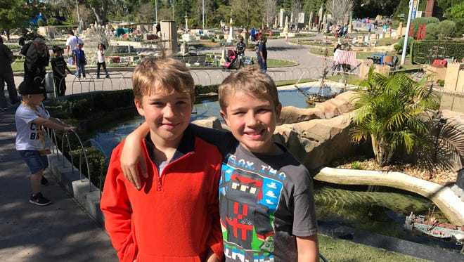 Twin brothers and best friends, Adam and Connor Blandford, 9, celebrate their birthday at Legoland Florida.