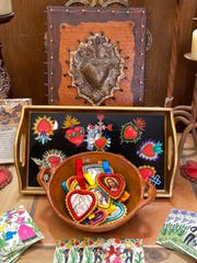 An assortment of unique Valentine's Day gifts await creative sweethearts at the front table at the San Pasqual Market just off the Mesilla Plaza.