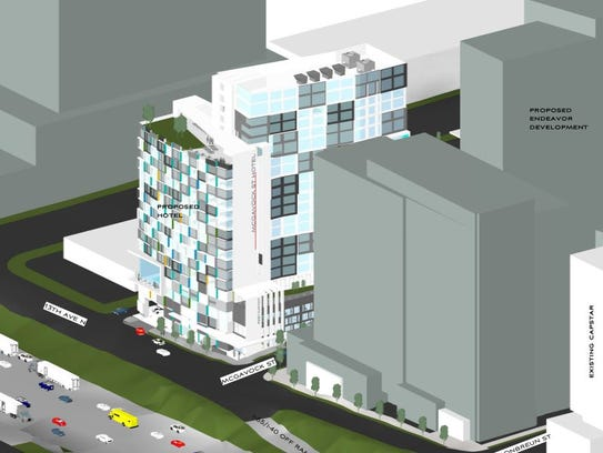 An image of the project planned at 13th and McGavock in relations to other buildings planned in that Gulch area.