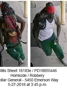Indianapolis Metropolitan Police have released images from security camera footageto help determine who fatally shot aclerk at a northeast-side Dollar General store Sunday, May 27, 2018.