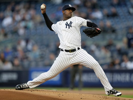 New York Yankees pitcher Luis Severino throws during the first inning of the team's baseball game against the Chicago White Sox at Yankee Stadium, Tuesday, April 18, 2017, in New York. (AP Photo/Seth Wenig)