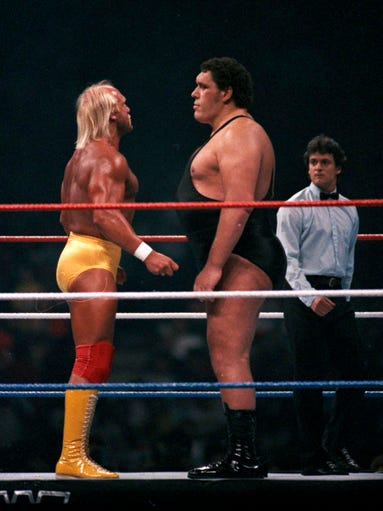 Hulk Hogan, left, and Andre the Giant wrestled in the