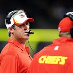 Kansas City Chiefs offensive coordinator Doug Pederson on the sidelines in the second quarter of their game against the New Orleans Saints at the Mercedes-Benz Superdome.