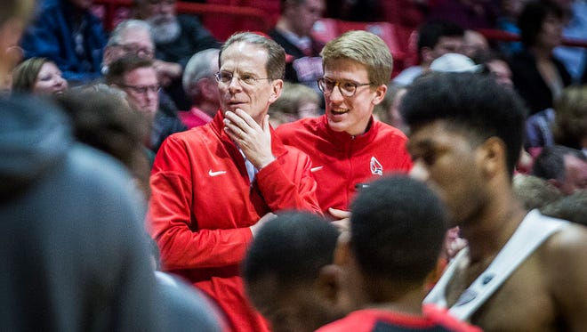 Ball State president Geoffrey Mearns in the crowd at a basketball game against North Florida at Worthen Arena Tuesday, Dec. 19, 2017.