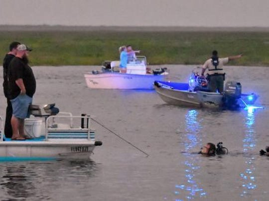 Search efforts at River Lakes Conservation Area Boat ramp west of Cocoa off of State Road 520. An airboat overturned and sank, and two passengers are missing.