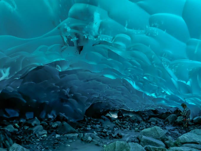 Ice caves are not strictly a winter-only phenomenon -- you just have to go to the right place. Here are 10 ice caves you can visit even when the mercury starts rising again. Mendenhall Glacier, Juneau, Alaska: These incredible caves are constantly on the move as the glacier inches towards Mendenhall Lake and changes shape along the way. The best way to access them is from the West Glacier Trail with the help of a guide. Above and Beyond Alaska leads hikes to the crevasses and caves of Mendenhall Glacier, and provides crampons and mountaineering gear.