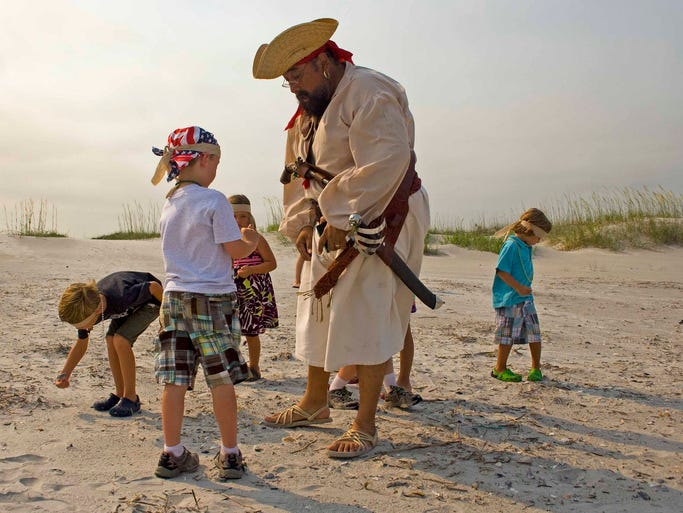 At Blockade Runner Beach Resort in Wrightsville, N.C., kids have access to a selection of pirate costumes and accessories to put on before hitting the beach to search for all-natural loot. The loot, mostly sea glass and shells, is later stored in treasure chests that kids decorate during camp. Learning how to talk and sing like a pirate pays off when local pirate legend Don Juan Cortez makes a guest appearance at the resort.