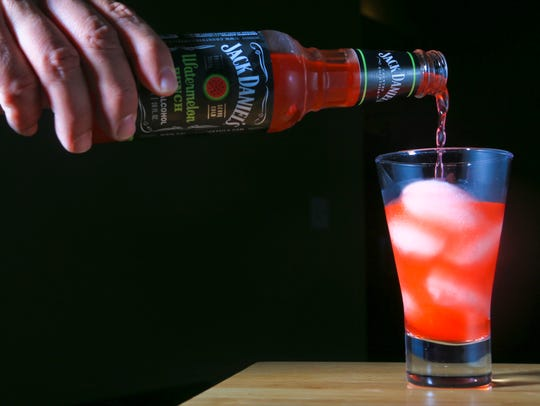 A Jack Daniels watermelon cocktail and the cubes made