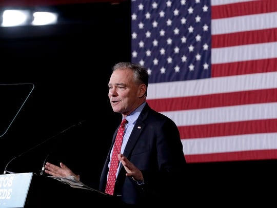 Democratic vice presidential candidate Sen. Tim Kaine,