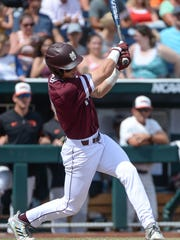Mississippi State sophomore third baseman Justin Foscue leads the Bulldogs in home runs (four) and is second on the team in runs batted in (11). Credit: Steven Branscombe-USA TODAY Sports