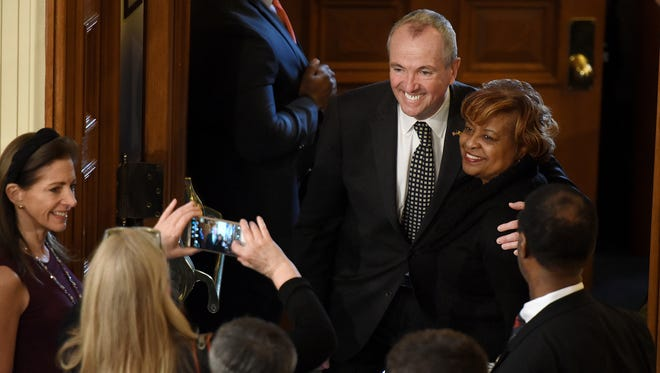 New Jersey Governor-elect Phil Murphy poses for a picture, prior to to Governor Chris Christie giving his final State of the State at the State House in Trenton on Tuesday, January 9, 2018.