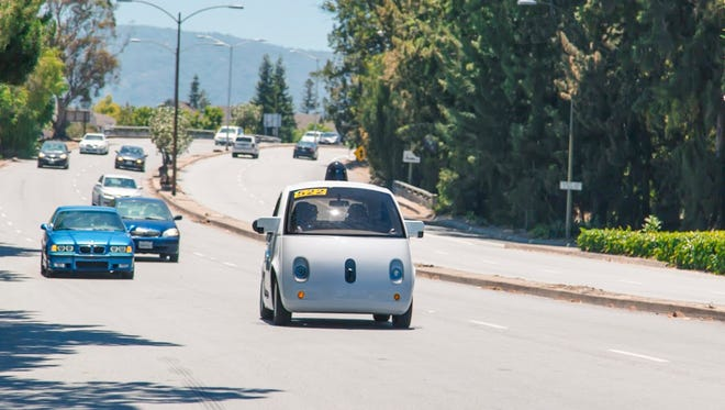The Google self-driving car on the streets of Mountain View, Calif.