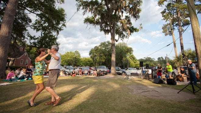 Dancers catch the spirit with the Taylor Band at Food Truck Thursday in 2014.