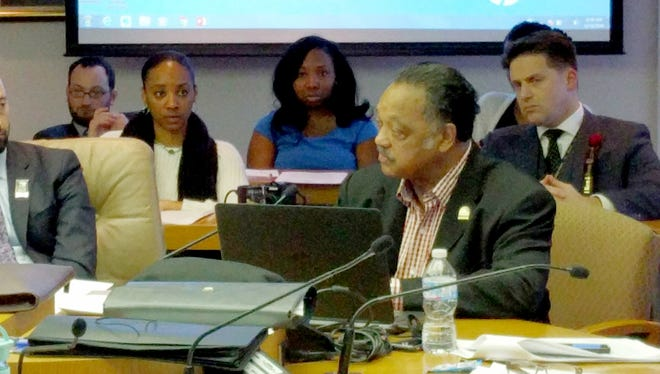 The Rev. Jesse Jackson visited with the Detroit City Council at its meeting on Jan. 19, 2016 to discuss the Flint water crisis and other urban issues.