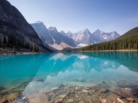 Moraine Lake, showcasing shockingly turquoise glacial