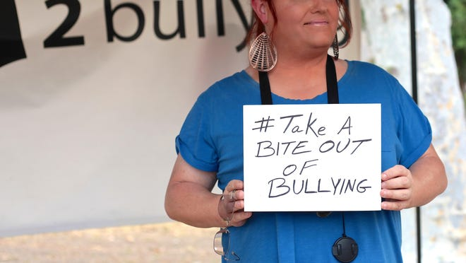 Thomi Clinton, local transgender activist, poses for an anti-bullying campaign at the inaugural Trans Pride Picnic at Ruth Hardy Park in Palm Springs, Sunday.