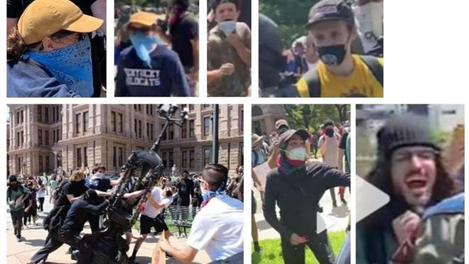 Texas Department of Public Safety officials are using still shots of footage pictured above to track down people authorities accuse of vandalizing the Texas State Capitol on May 30, 2020.