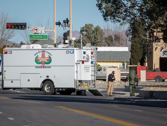 A member of the Doña Ana County Sheriff's Bomb Squad