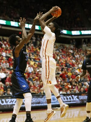 Iowa State's Jameel McKay takes a shot during the Buffalo Bulls at Iowa State men's basketball game on Monday, Dec. 7, 2015, in Hilton Coliseum.