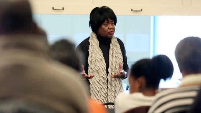 Patricia Lewis delivers a presentation on the Underground Railroad and Harriet Tubman Saturday at the Wilmington Friends Meeting House.