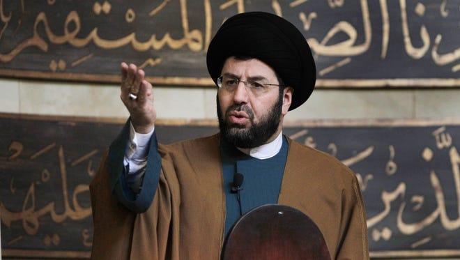 Imam Hassan Al-Qazwini speaks at the Islamic Center of America in Dearborn.