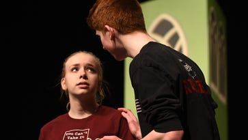 """Julia Gilewski and Zach Russel rehearse their upcoming Milford High production of """"You Can't Take it with You."""""""