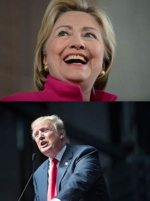 Top: Democratic Presidential candidate Hillary Clinton speaks at South Church December 29, 2015 in Portsmouth, New Hampshire. Bottom: Republican presidential candidate Donald Trump speaks to guests at a campaign rally on December 21, 2015 in Grand Rapids, Michigan.