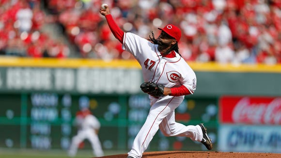 Cincinnati Reds starting pitcher Johnny Cueto (47) throws out his first pitch against the St. Louis Cardinals.