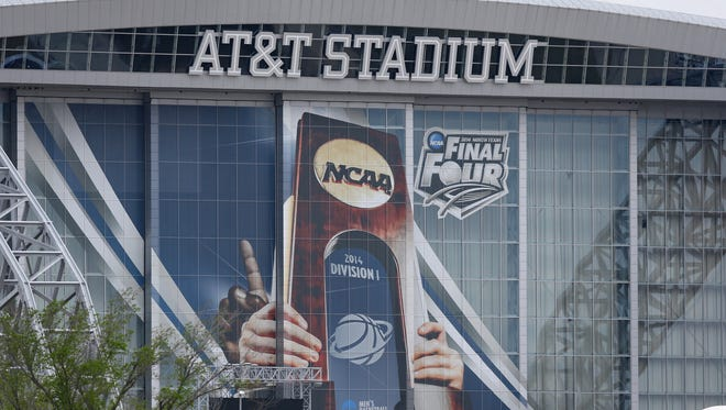 A general view of signage for the NCAA Men's Final Four at AT&T Stadium in Arlington, Texas.