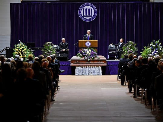 State Sen. Gerald Long talks about his longtime friend Randall J. Webb, president of Northwestern State University for 18 years, at a memorial service Monday at Prather Coliseum at NSU.