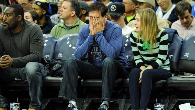 Mar 17, 2017; Philadelphia, PA, USA; Dallas Mavericks owner Mark Cuban reacts to a turnover during the third quarter of the game against the Philadelphia 76ers at the Wells Fargo Center. The Philadelphia 76ers won the game 116-74. Mandatory Credit: John Geliebter-USA TODAY Sports