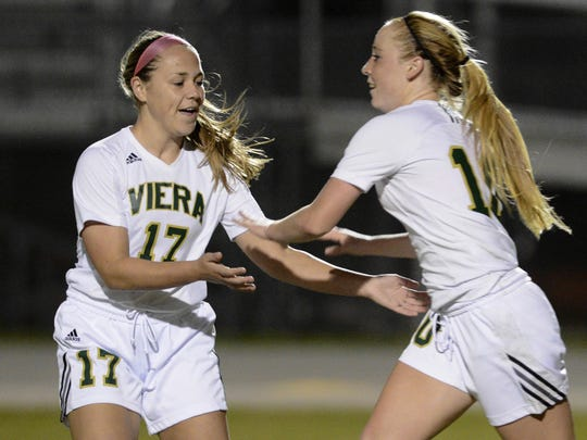 Brooke Walsh (10) of Viera celebrates her goal with teammate Emily Bodi (17) during Thursday's regional quarterfinal game.