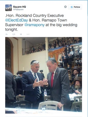 Twitter photo of Ramapo Town Supervisor Christopher St. Lawrence and Rockland County Executive Ed Day at a wedding in New Square.