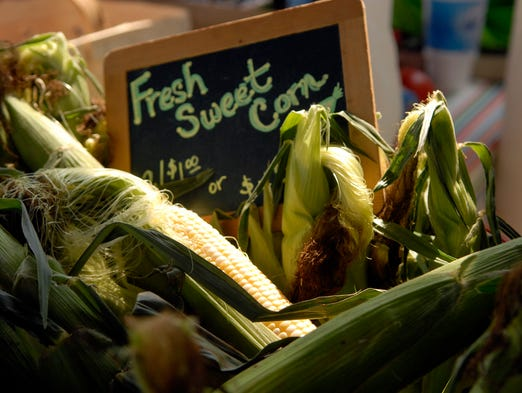 Fresh corn for sale at the New Albany Farmer's Market on Wednesday.  Aug. 27, 2014