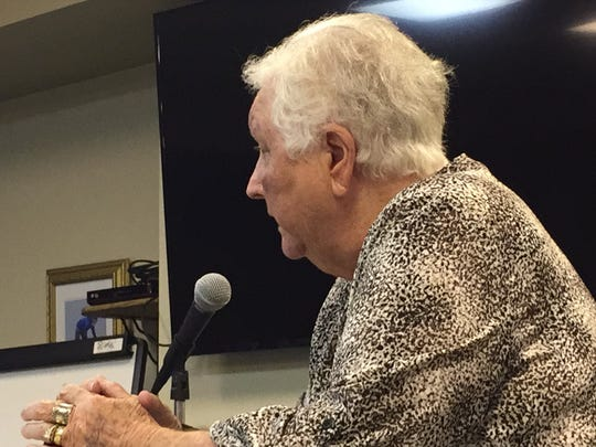 Chincoteague resident Peggy Thomas addresses the Chincoteague Town Council on Tuesday, Sept. 5, 2017 in Chincoteague, Virginia.
