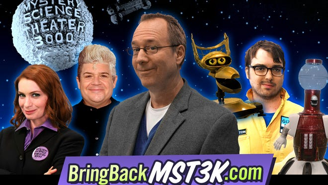 """Felicia Day (from left), Patton Oswalt, Joel Hodgson, Crow T. Robot, Jonah Ray and Tom Servo of the new """"Mystery Science Theater 3000."""""""