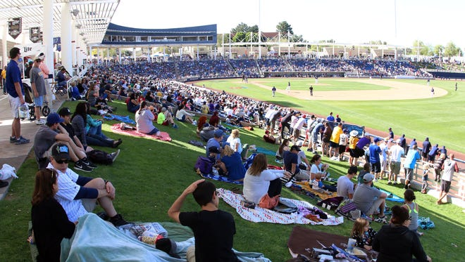 A large crowd was on hand at Maryvale Baseball Park for the Milwaukee Brewers spring training game against the Colorado Rockies, Saturday, March 12, 2016, in Phoenix, Arizona.