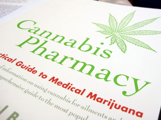 A book about medical marijuana lies on a table on Dec.