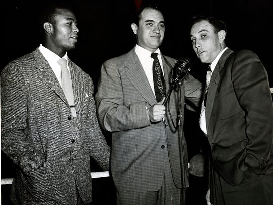 Larry Doby, left, with longtime Yankees announcer Mel Allen in this undated photo.