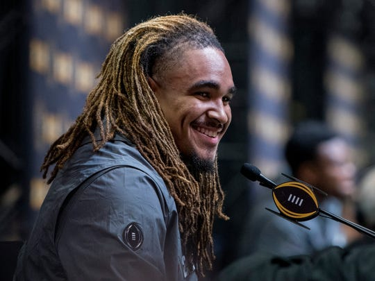 Alabama quarterback Jalen Hurts (2) talks with the media during the Alabama Media Day for the College Football Playoff in Atlanta, Ga., on Saturday January 6, 2018.