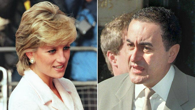 Princess Diana in March 1996, and Dodi Fayed in July 1997.