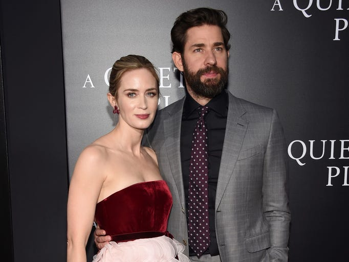 Emily Blunt and John Krasinski attend the premiere